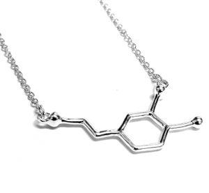 Image of  Dopamine Molecule Necklace Science Geek Happy Sml