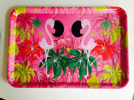 Image of NEW**PINK FLAMINGO SERVING TRAY**