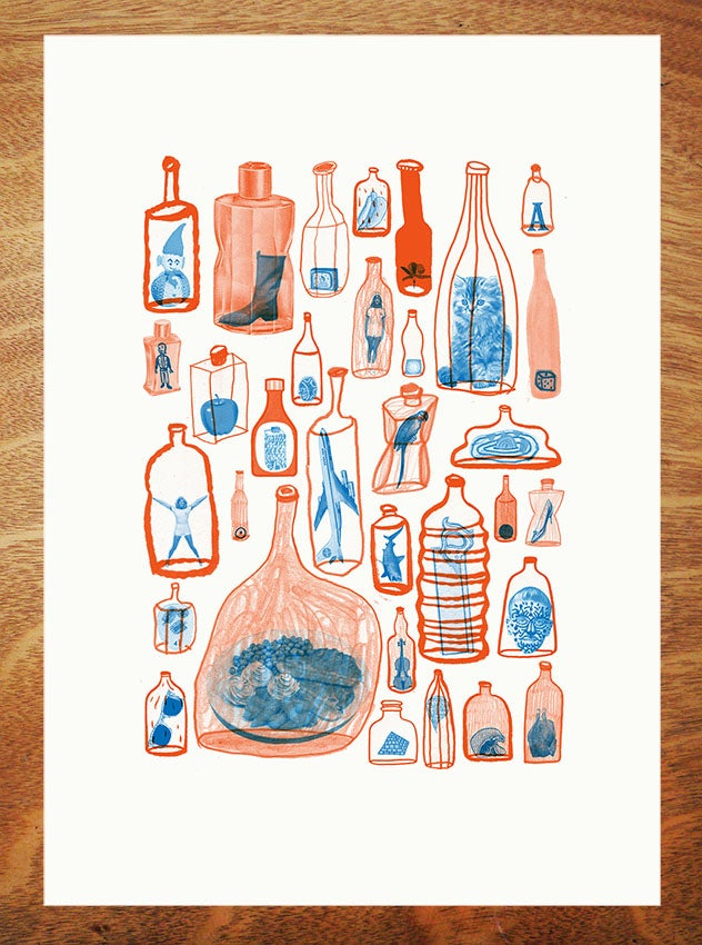 Image of Things in bottles that aren't ships - A3 Risograph Print