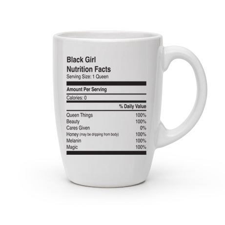 Image of Black Girl Nutrition Facts Mug