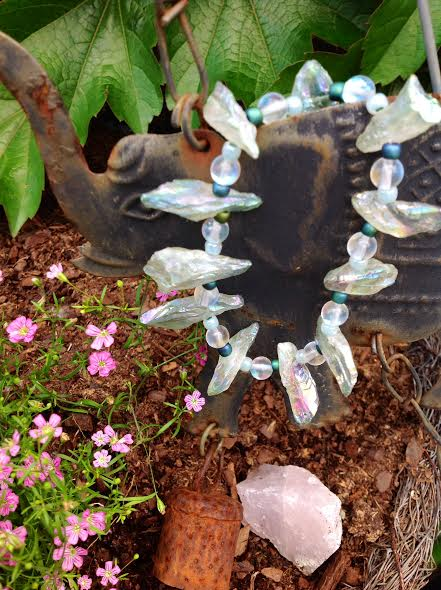 Image of Whimsical~ I believe in fairies ~Pale Green Angel Aura Quartz Points with seed beads and opalite