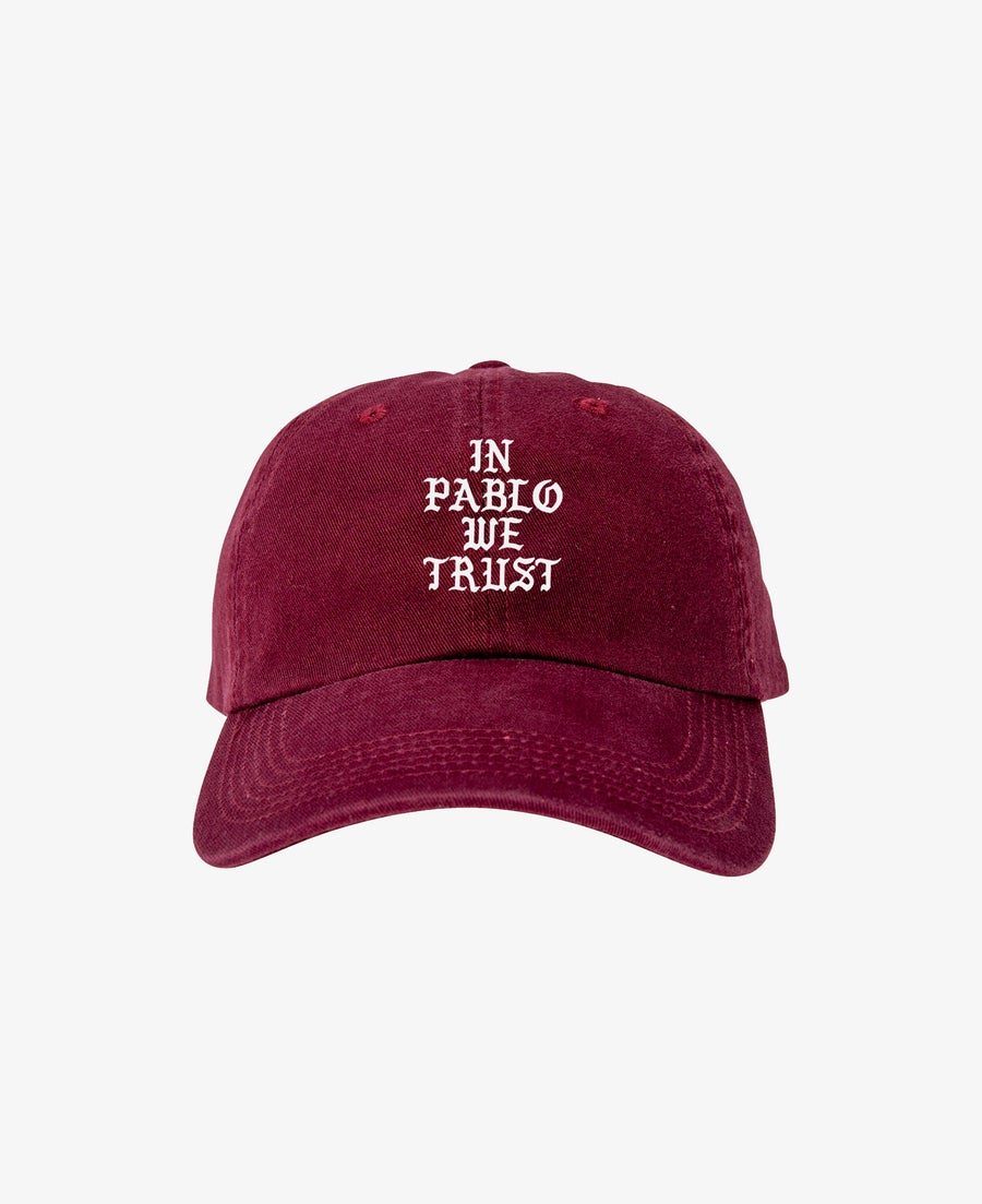 Image of IN PABLO WE TRUST CAP - BURGUNDY