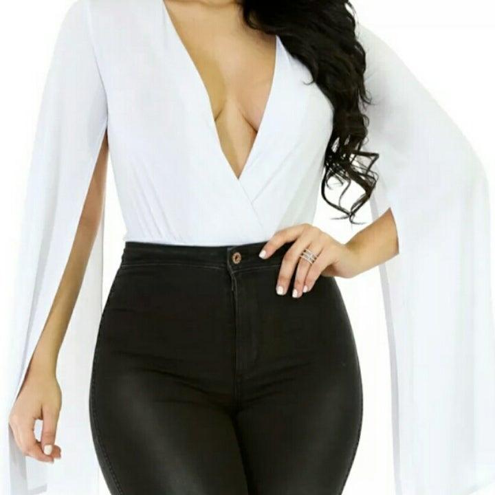 Image of White Bell Sleeved Bodysuit