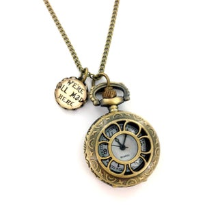 Image of We're All Mad Here Pocket Watch Necklace With Handmade Glass Charm D