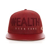 Image of Big Wealth Denim strapback -Burgundy/Cream