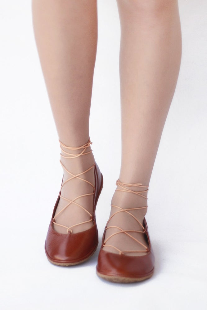 Image of Ballet flats Lace up - Tobbaco brown handmade leather ballerinas