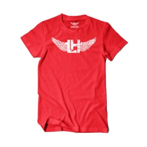 Image of LH Distressed Tee (White On Red)