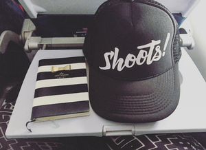 Image of SHOOTS! Script - Hat - White on Black