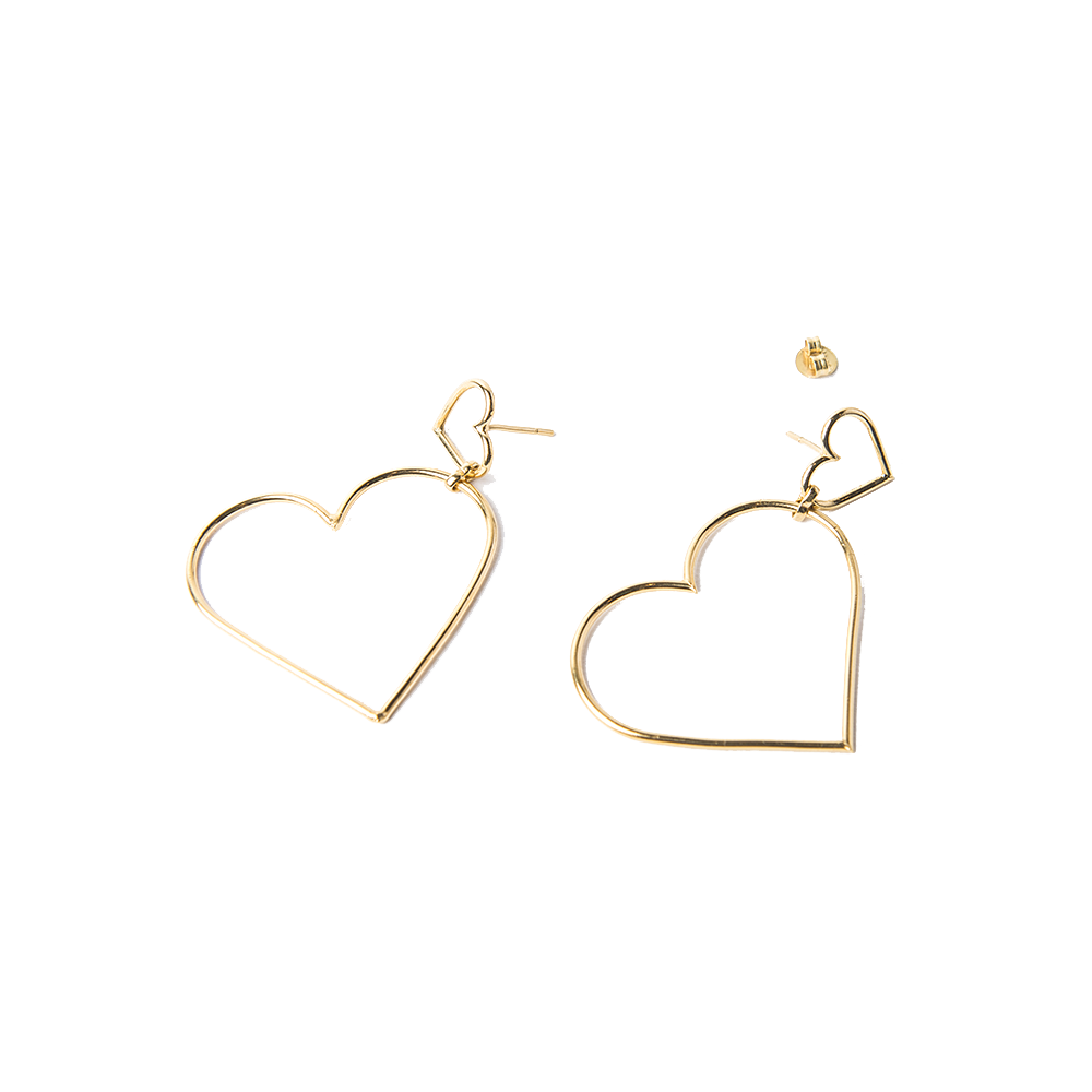 Imagen de Broken Wire Double Heart earrings