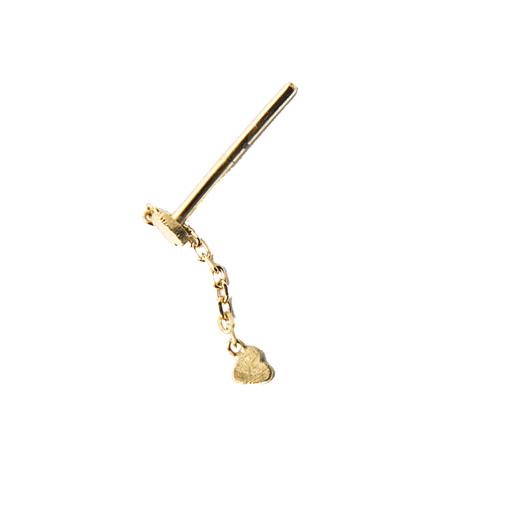 Detalle de Single Broken Double Heart chain stud earring