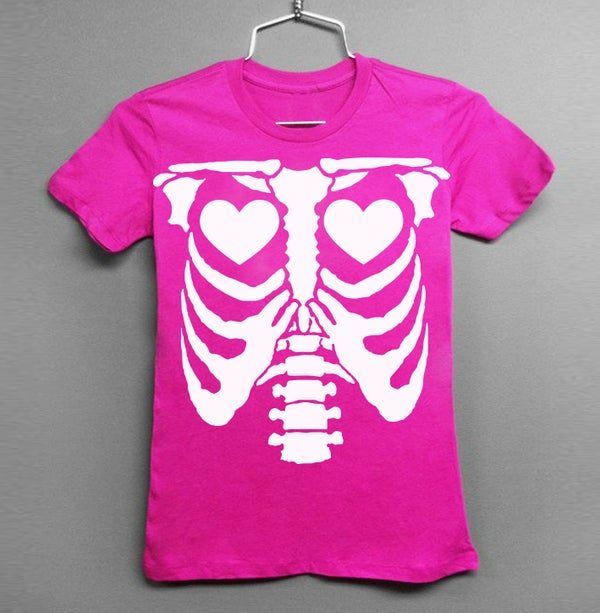 Image of White Ribs & Heart Hot Pink Tee