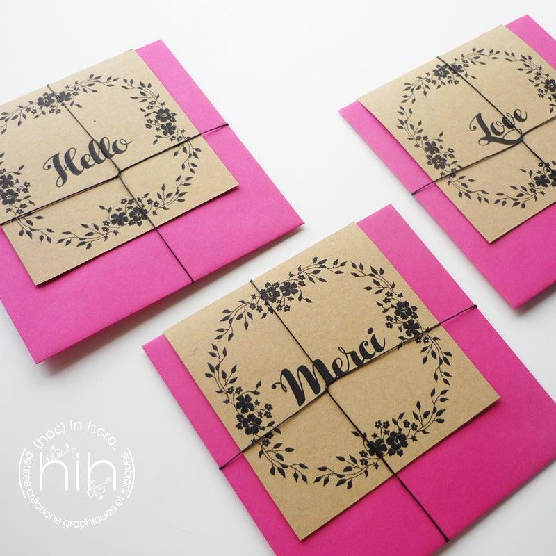 Image of petites cartes ☙folia☙ 'hello' 'merci' ou 'love'