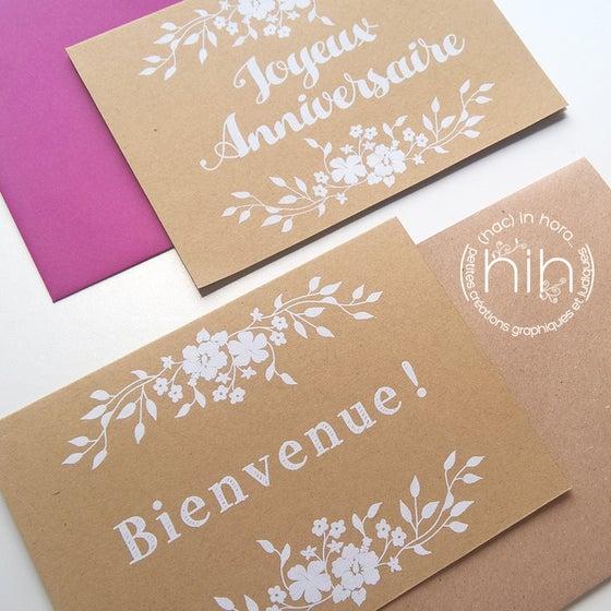 Image of cartes ☙folia☙ sérigraphiées  bienvenue ou joyeux anniversaire