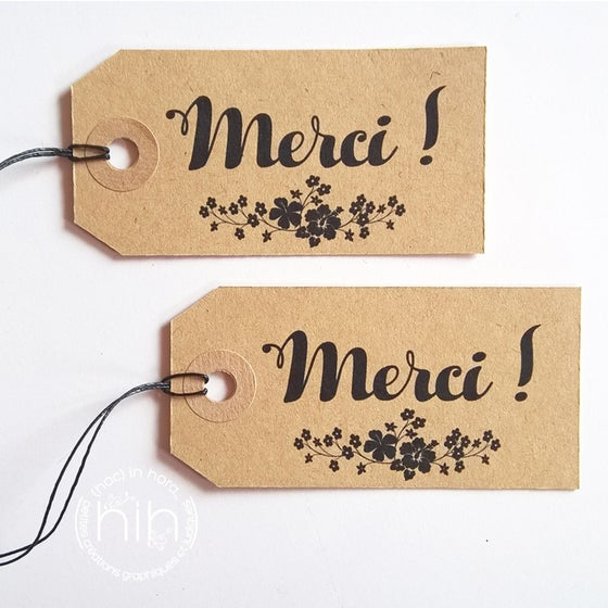 "Image of étiquettes tag #kraft# ""Merci !"""