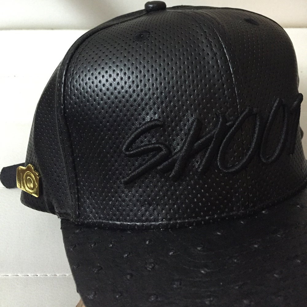 Image of SHOOT (perforated leather hat) *VERY LIMITED