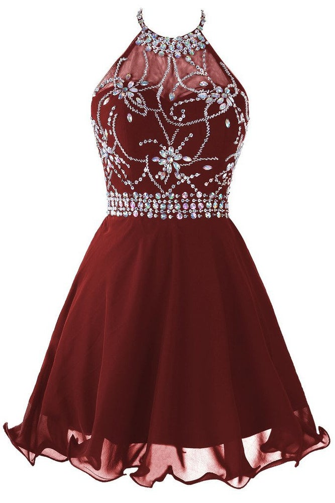 Cute Burgundy Short Chiffon Halter Prom Dresses With