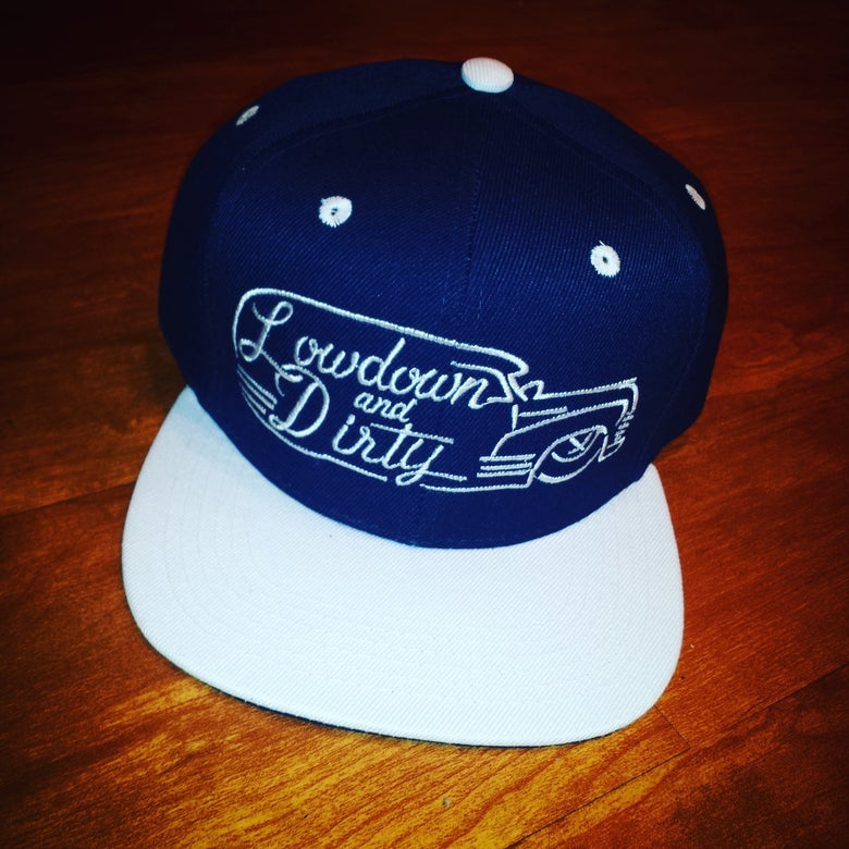 Image of Navy Panel Snapback with white bill