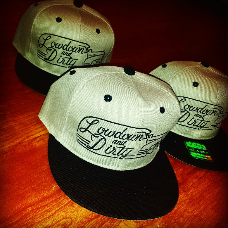 Image of tan Panel Snapback with black bill