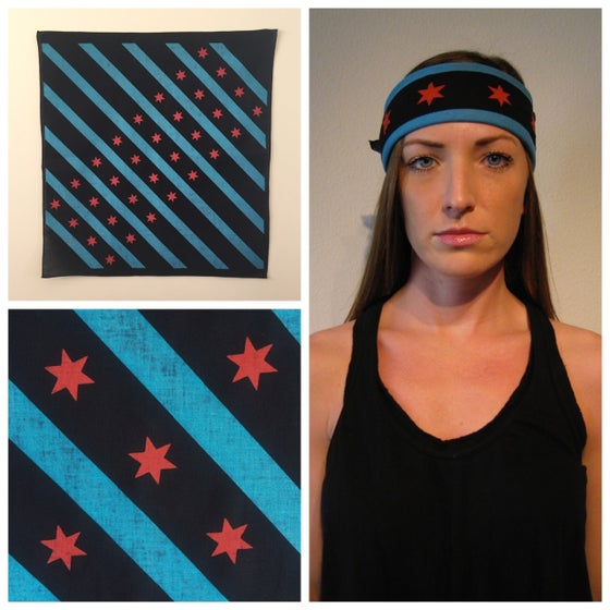 Image of Black Chicago flag bandana