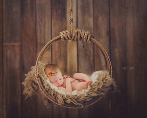 "Image of ""Simply Rustic"" Woodsy Wonders Newborn Wood & Barn Rope Hammock or Dream Catcher"