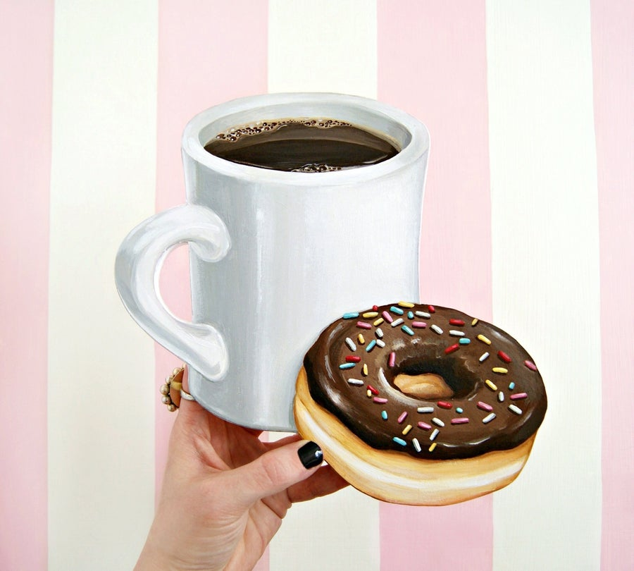 Image of Coffee & Donut wood diecut plaque