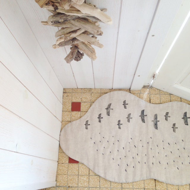 Image of cloud rug (drops stitched by hand)