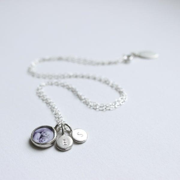 Image of Family keepsake necklace (1 PHOTO, 1 INITIAL TAG)