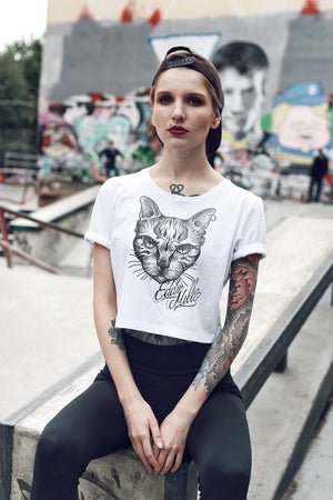 Image of ANGRY CAT CROP TOP