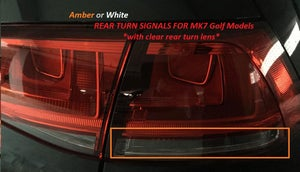 Image of Amber or White Rear Turn Signals Fits: MK7 Golf Models with Clear Turn Lens Only