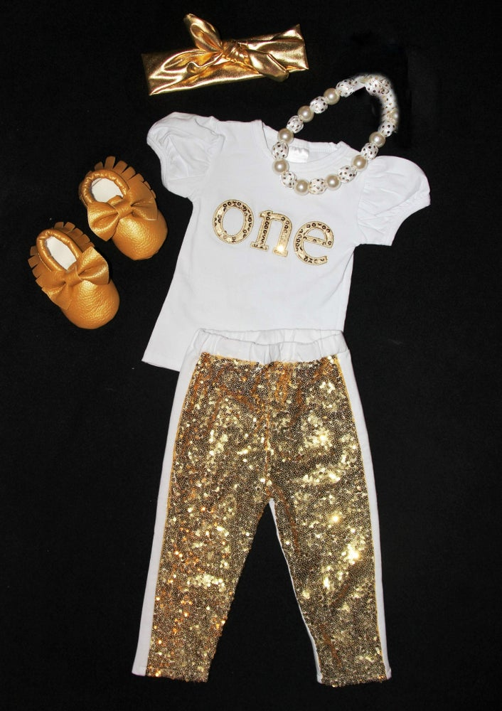 "Image of ONE"" Gold Sequin Boutique Outfit"
