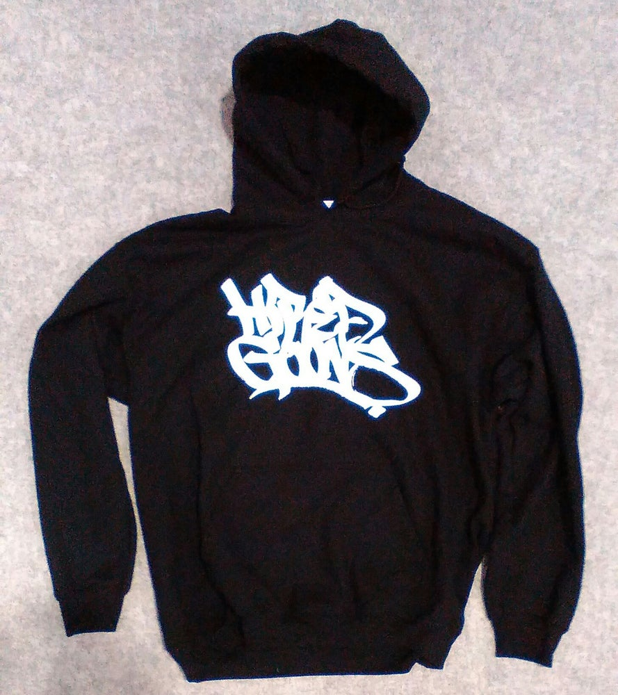 "Image of ""Hired Goons"" O.G. Tag Hoodie. White on Black Small Only!"