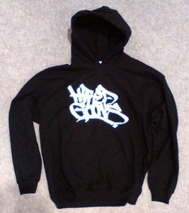 "Image of ""Hired Goons"" O.G. Tag Hoodie. White on Bla"