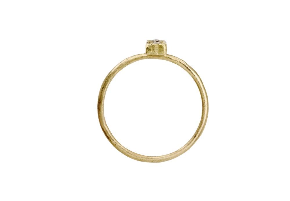 Image of Bar ring. Baby rose cut diamonds. 18k. Frankenstein.