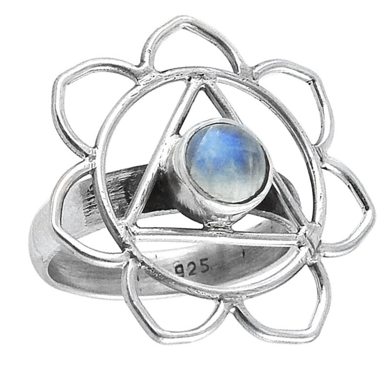 Image of Sterling Silver & Rainbow Moonstone Third Eye Chakra Ring