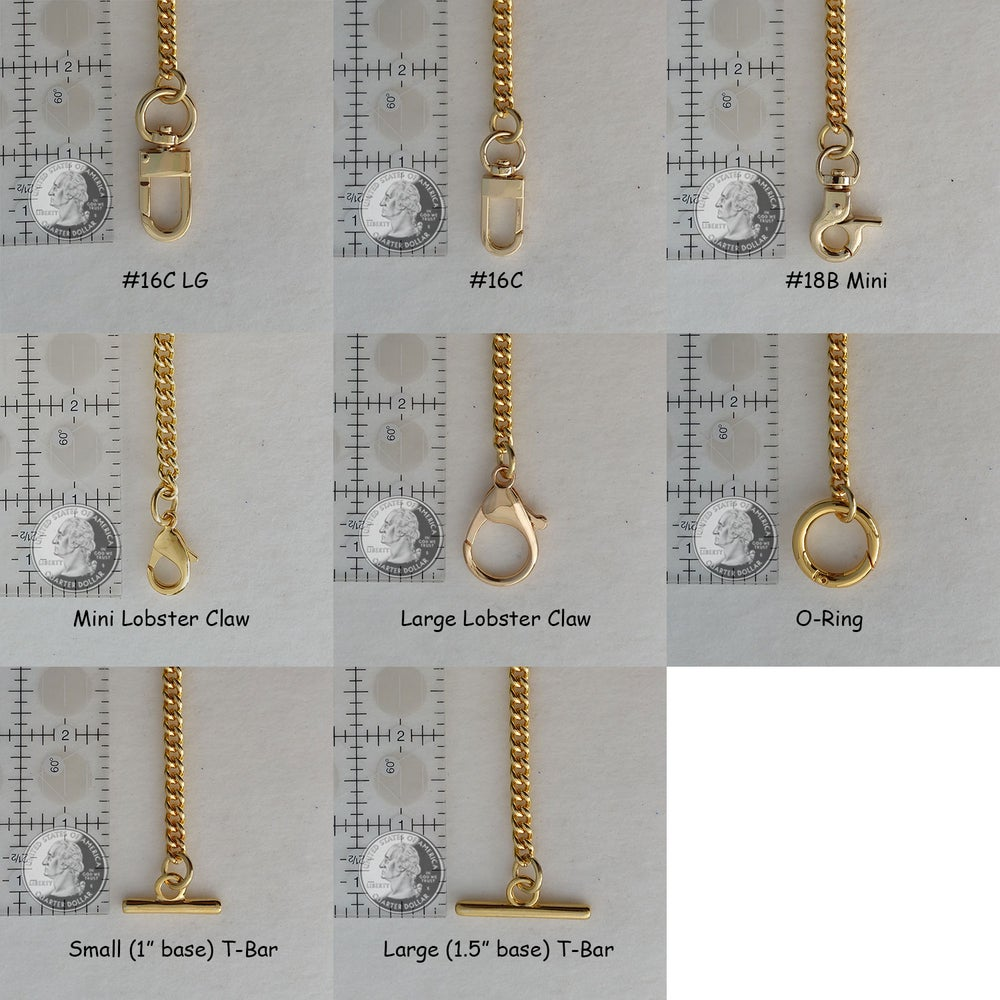 "Image of GOLD Chain Purse Strap - Mini Classy Curb Chain - 1/4"" Wide - Choice of Length & Attachable Hooks"