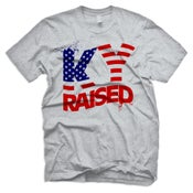 Image of KY Raised USA FLAG tee in Grey, Red & Blue