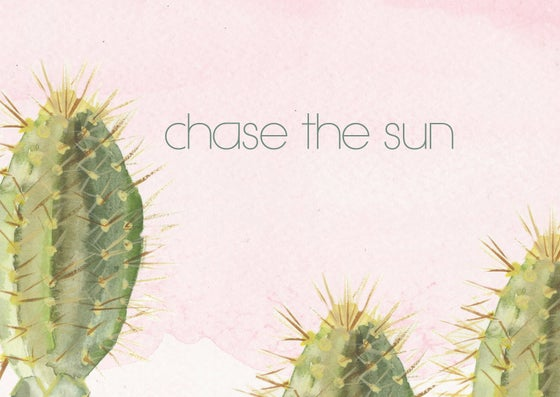 "Image of Postcard cactus aquarel ""chase the sun"""