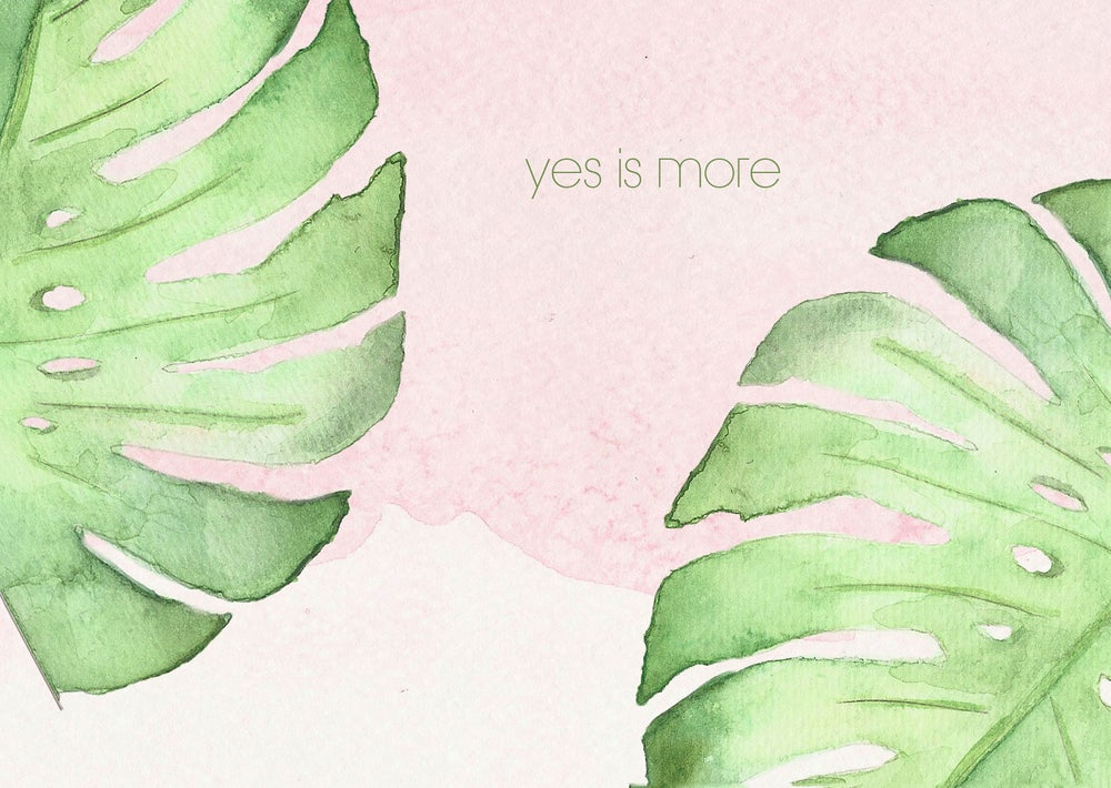 """Image of Postcard monstera plant aquarel """"yes is more"""""""