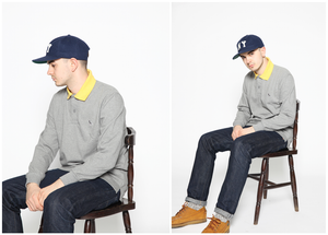 Image of CONTRAST COLLAR L/S POLO [GREY JERSEY]