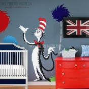 Image of Dr Seuss Cat In The Hat Holding Tail wall decal will sticker