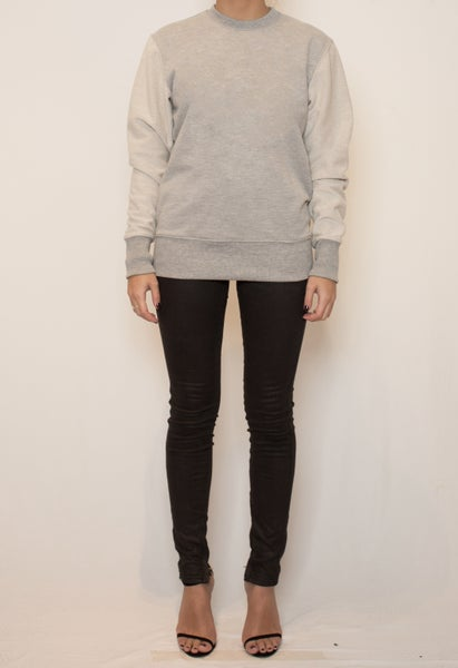 Image of Basic contrast sleeve sweatshirt - Grey Marle