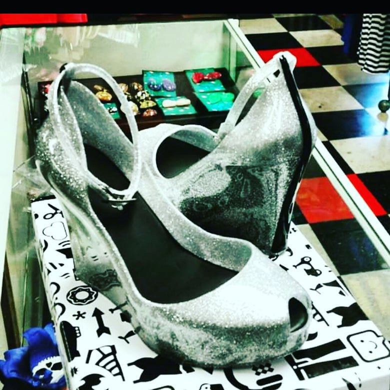 Image of silver flaked jelly peeptoe wedges wirh ankle strap