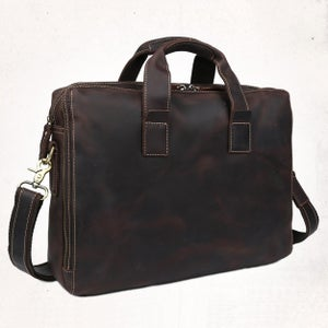 "Image of Vintage Handmade Crazy Horse Leather Briefcase Messenger 14"" 15"" Laptop / 13"" 15"" MacBook Bag (n18)"