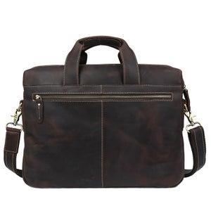 """Image of Vintage Handmade Crazy Horse Leather Briefcase Messenger 14"""" 15"""" Laptop / 13"""" 15"""" MacBook Bag (n18)"""