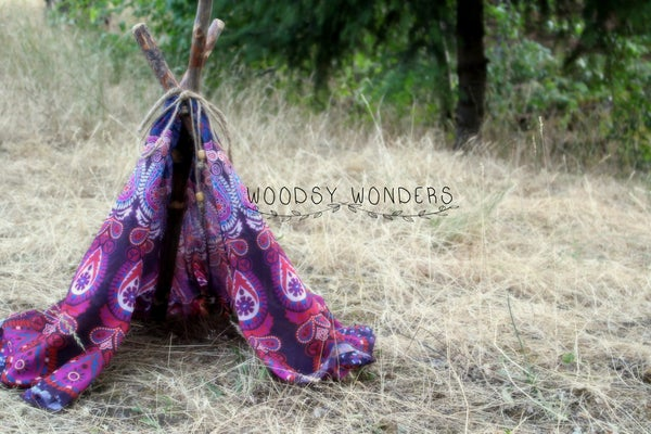 "Image of Raspberry Bohemian Newborn ""Wonderlust"" TeePee with Hand Harvested Organic Log Poles from the PNW!"