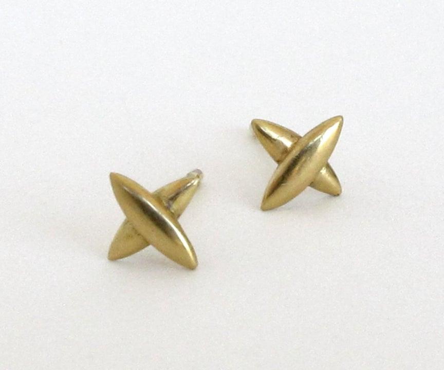 Image of Northern Cross Tiny Stud 18k Earrings Pair or Single
