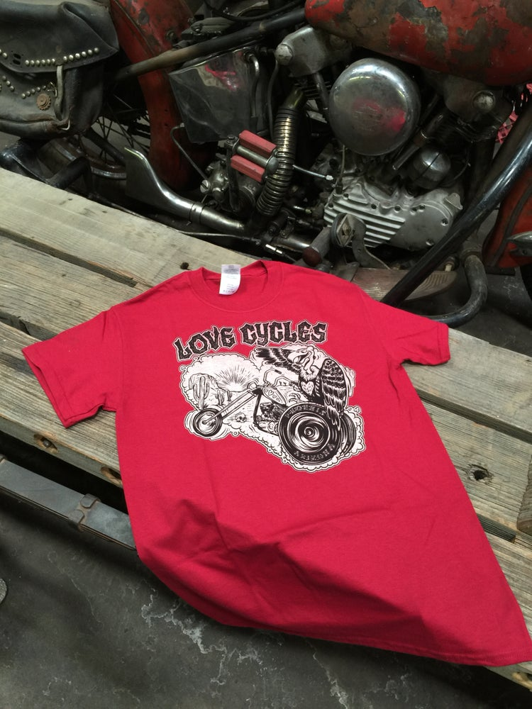 Image of Buzzard on a Trike Tee in Cardinal Red