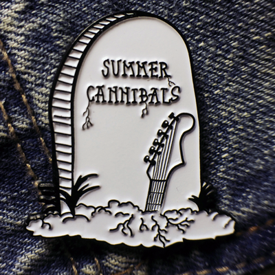 Image of Summer Cannibals Gravestone Enamel Pin