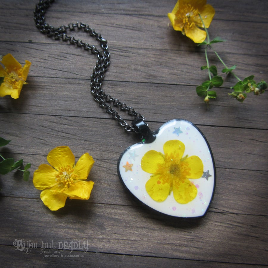 Image of Pressed Buttercup Heart Pendant