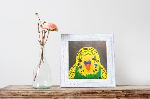 Image of Budgie Portrait - Normal Green